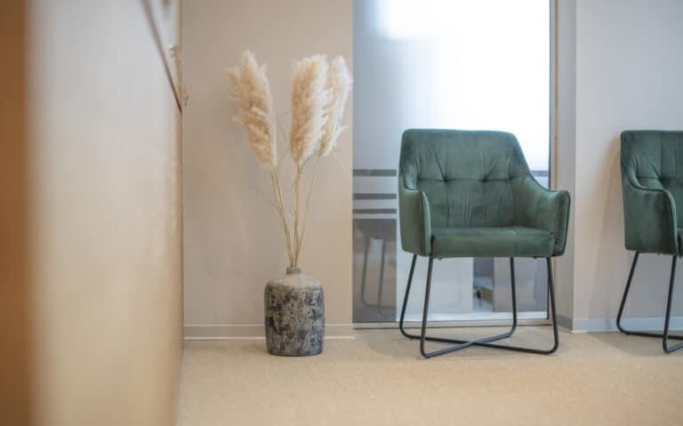 Stuhl und Pflanze aus unserem Wartebereich