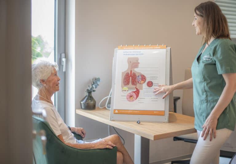 Aufklärung einer Patientin über den Aufbau der Atemwege mit bildlicher Unterstützung